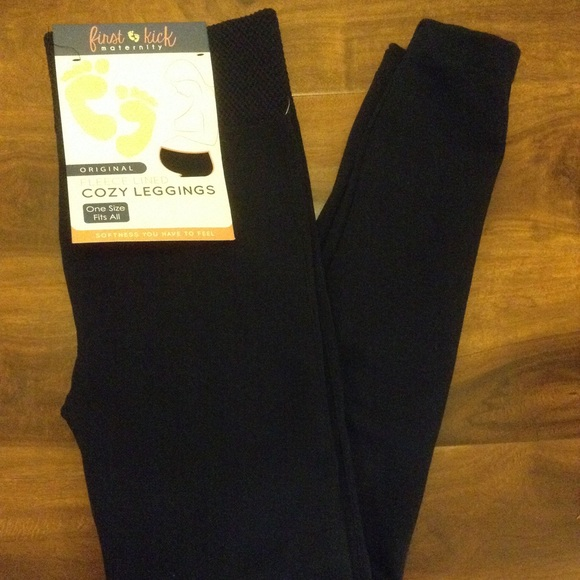 First Kick Pants Jumpsuits Navy Fleece Lined Cozy Maternity Leggings Poshmark
